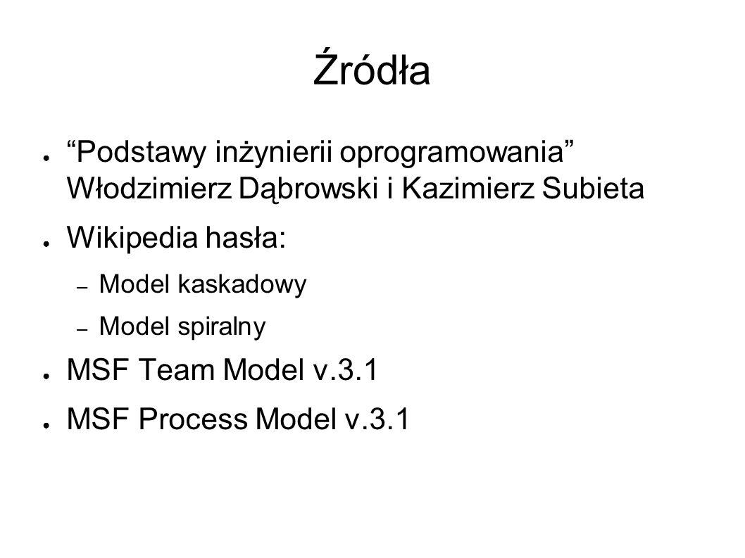 Źródła ● Podstawy inżynierii oprogramowania Włodzimierz Dąbrowski i Kazimierz Subieta ● Wikipedia hasła: – Model kaskadowy – Model spiralny ● MSF Team Model v.3.1 ● MSF Process Model v.3.1