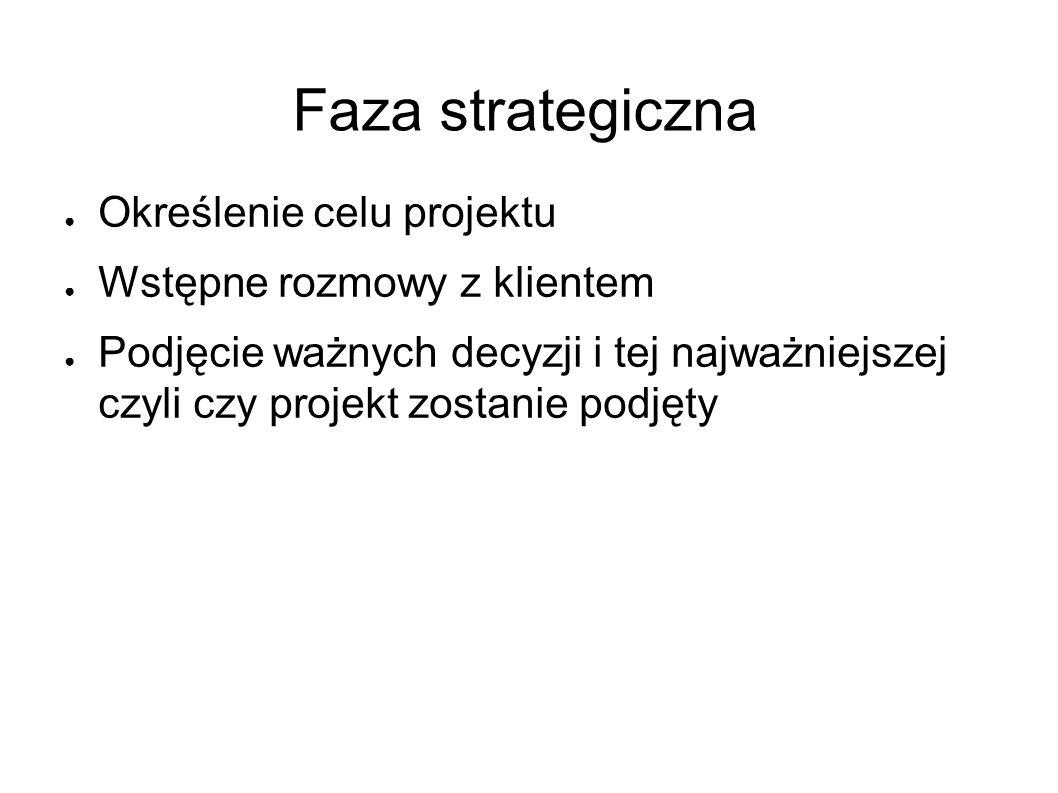 Faza strategiczna ● Określenie celu projektu ● Wstępne rozmowy z klientem ● Podjęcie ważnych decyzji i tej najważniejszej czyli czy projekt zostanie podjęty