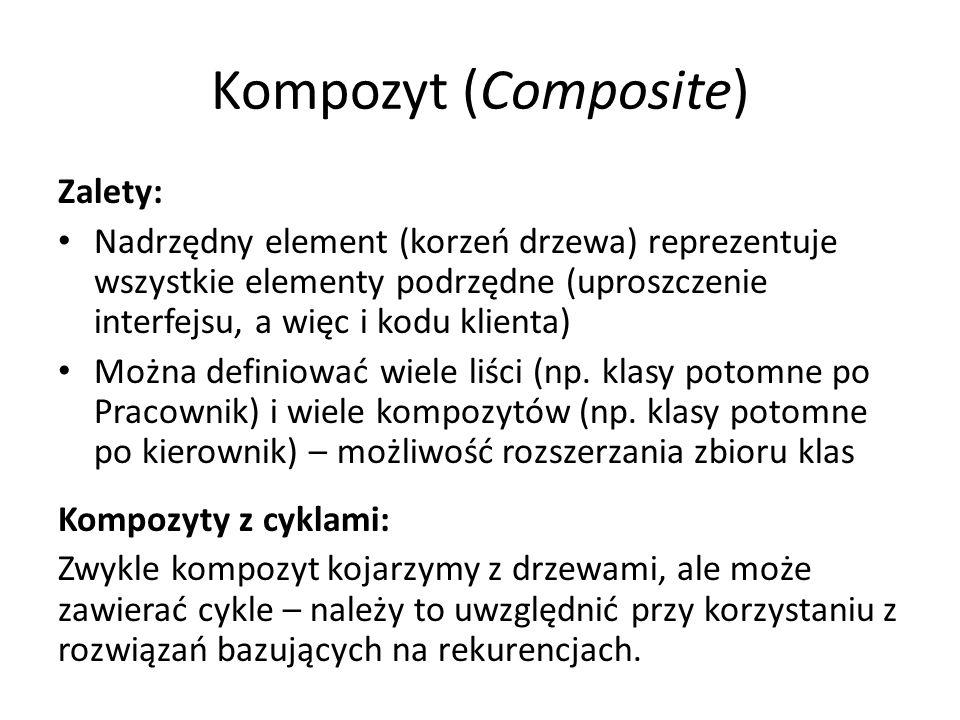 Kompozyt (Composite) Zalety: Nadrzędny element (korzeń drzewa) reprezentuje wszystkie elementy podrzędne (uproszczenie interfejsu, a więc i kodu klienta) Można definiować wiele liści (np.