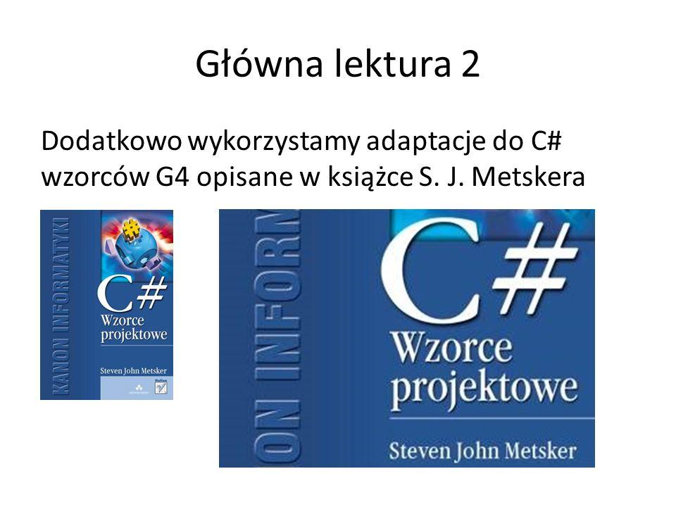 Główna lektura 2 Dodatkowo wykorzystamy adaptacje do C# wzorców G4 opisane w książce S. J. Metskera