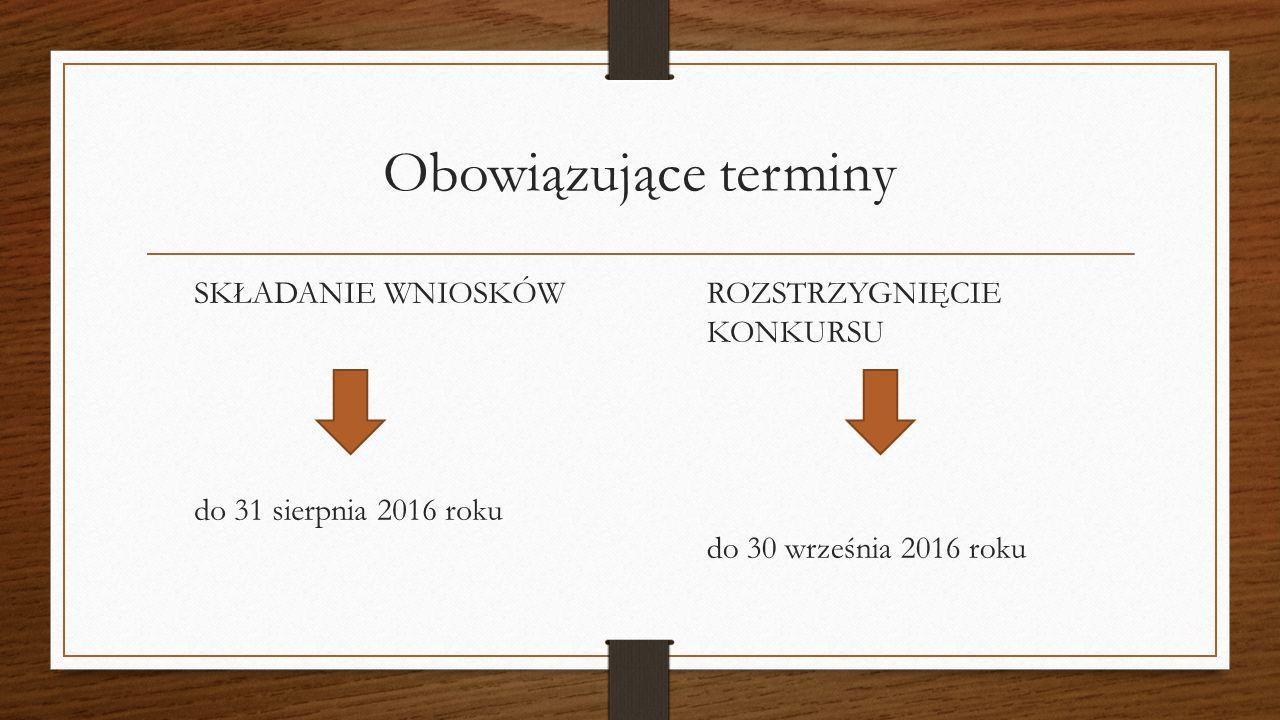 Obowiązujące terminy SKŁADANIE WNIOSKÓW do 31 sierpnia 2016 roku ROZSTRZYGNIĘCIE KONKURSU do 30 września 2016 roku