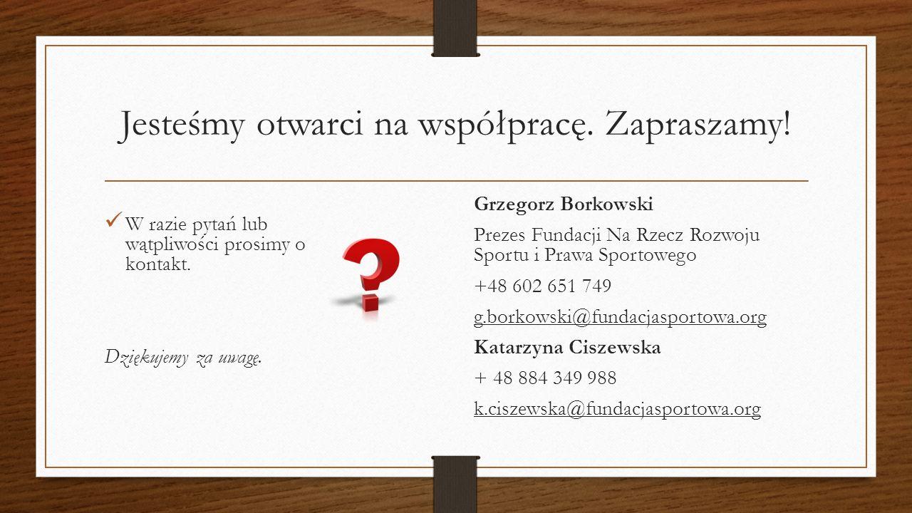 Jesteśmy otwarci na współpracę. Zapraszamy. W razie pytań lub wątpliwości prosimy o kontakt.
