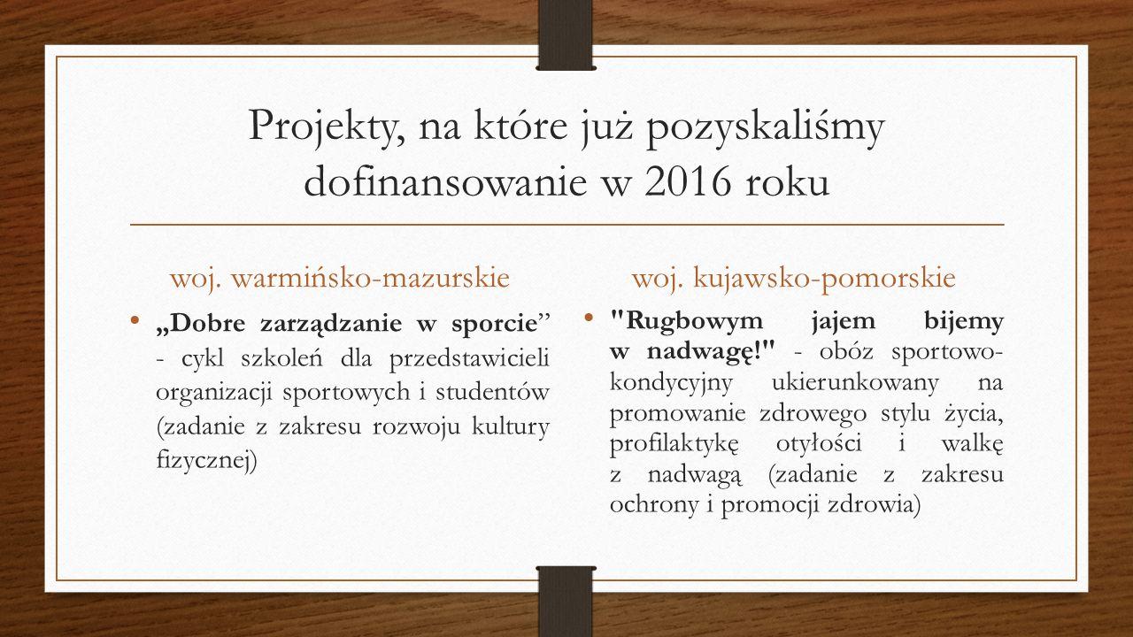 """Projekty, na które już pozyskaliśmy dofinansowanie w 2016 roku woj. warmińsko-mazurskie """"Dobre zarządzanie w sporcie"""" - cykl szkoleń dla przedstawicie"""