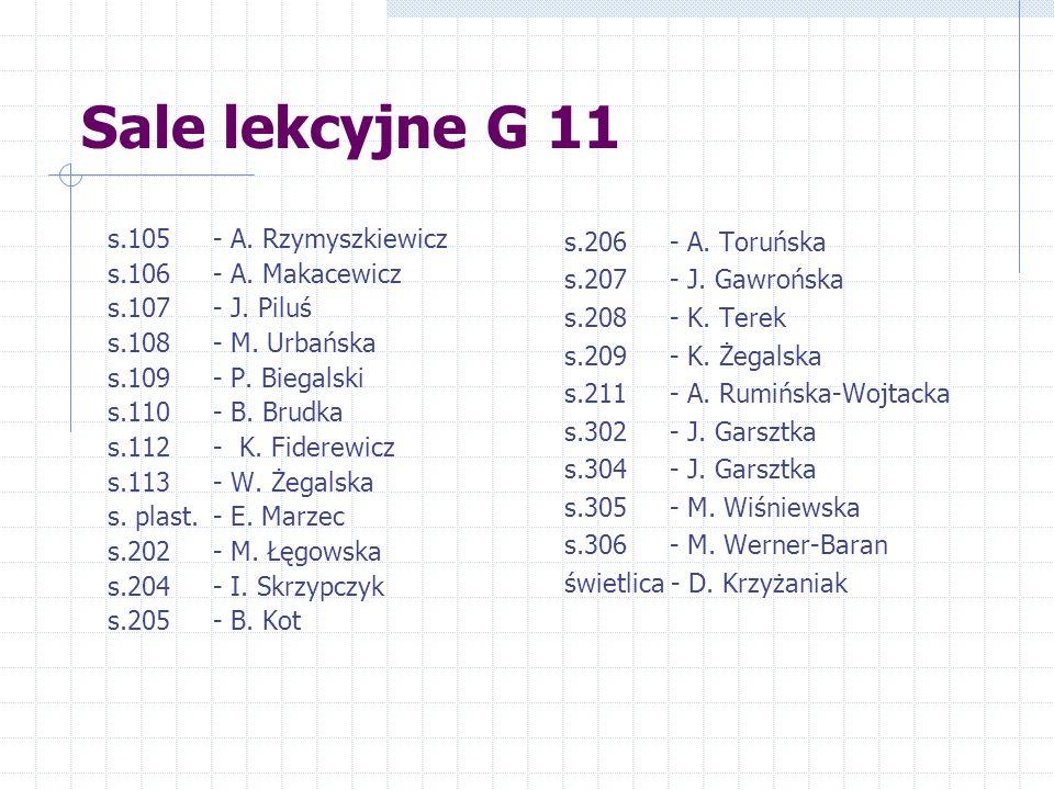 Sale lekcyjne G 11 s.105 - A. Rzymyszkiewicz s.106 - A.
