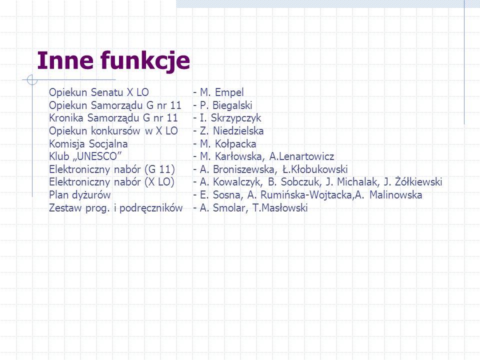 Inne funkcje Strony www- B.Kuźmińska, Platforma moodle- B.