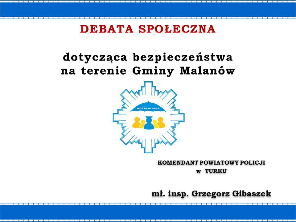 Gmina Malanów Obszar-107,17 km2 Mieszkańcy-6545 Sołectwa-17 Gmina wiejska Jednostka Policji Zespół Prewencji w Malanowie KPP Turek