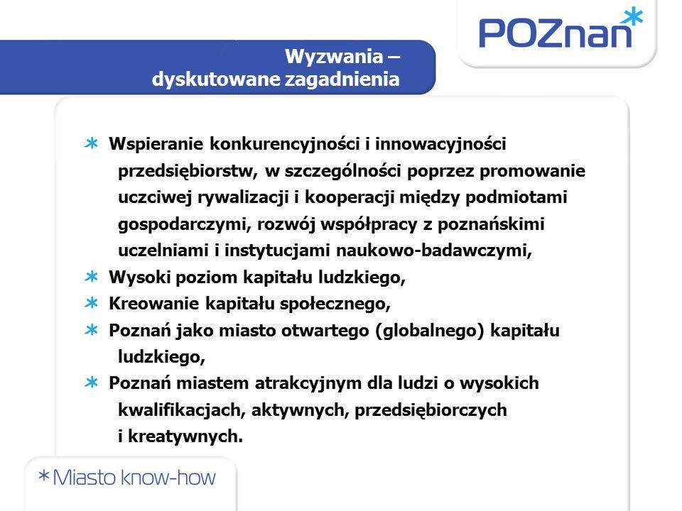 Wspieranie konkurencyjności i innowacyjności przedsiębiorstw, w szczególności poprzez promowanie uczciwej rywalizacji i kooperacji między podmiotami gospodarczymi, rozwój współpracy z poznańskimi uczelniami i instytucjami naukowo-badawczymi, Wysoki poziom kapitału ludzkiego, Kreowanie kapitału społecznego, Poznań jako miasto otwartego (globalnego) kapitału ludzkiego, Poznań miastem atrakcyjnym dla ludzi o wysokich kwalifikacjach, aktywnych, przedsiębiorczych i kreatywnych.