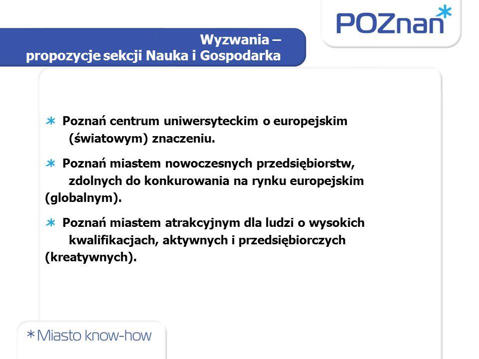 Wyzwania – propozycje sekcji Nauka i Gospodarka Poznań centrum uniwersyteckim o europejskim (światowym) znaczeniu.