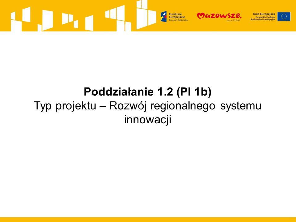 Poddziałanie 1.2 (PI 1b) Typ projektu – Rozwój regionalnego systemu innowacji