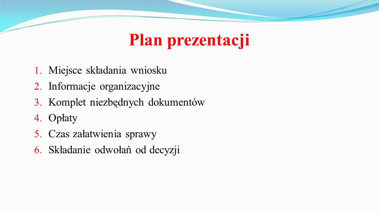 Plan prezentacji 1.Miejsce składania wniosku 2. Informacje organizacyjne 3.
