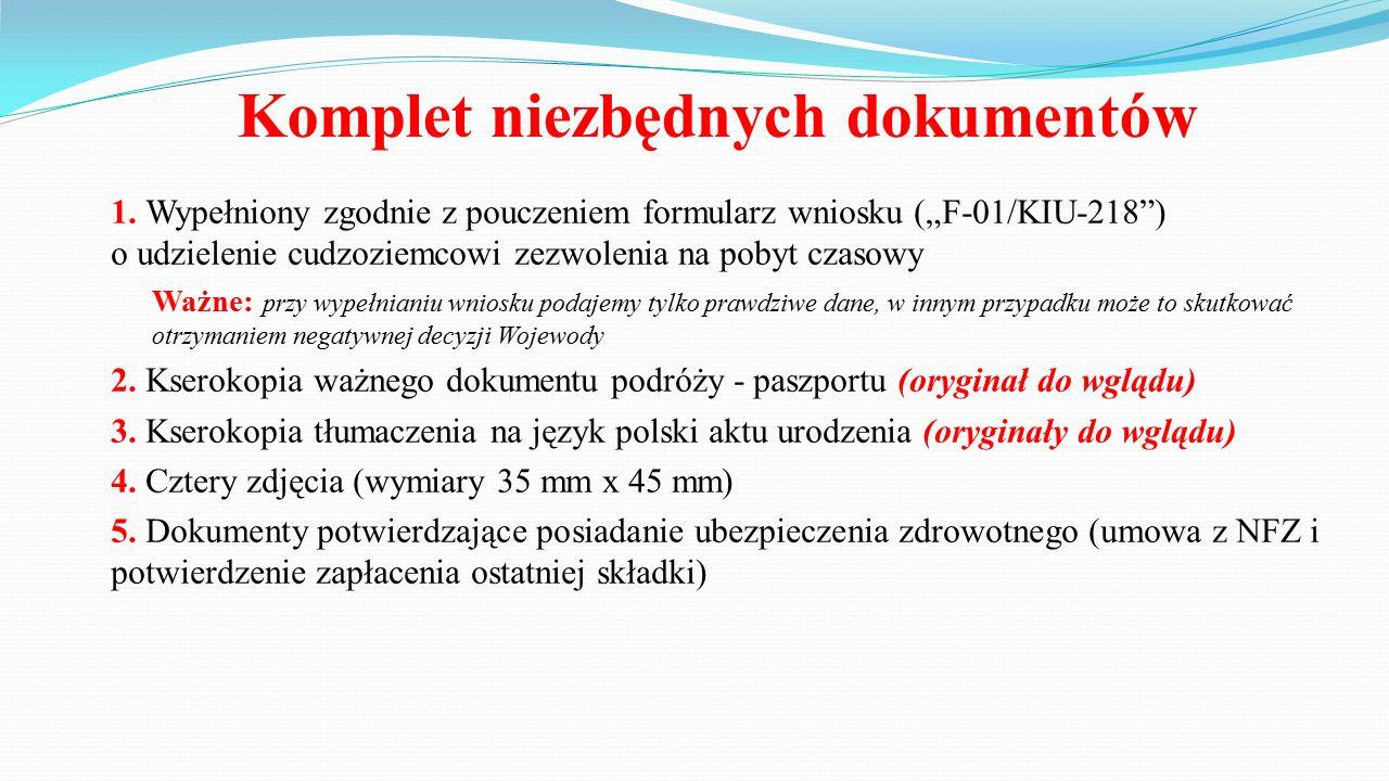 Komplet niezbędnych dokumentów 6.