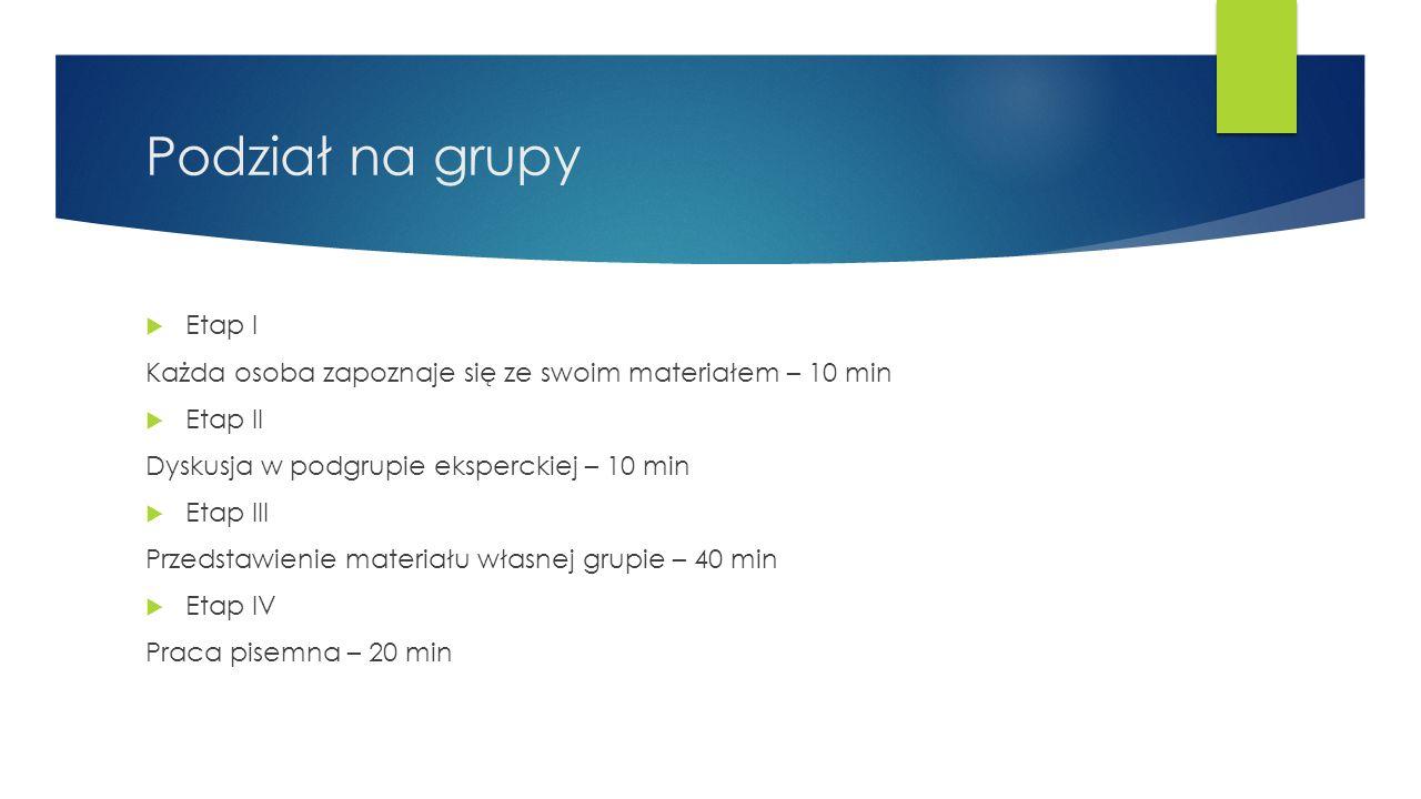 Podział na grupy  Etap I Każda osoba zapoznaje się ze swoim materiałem – 10 min  Etap II Dyskusja w podgrupie eksperckiej – 10 min  Etap III Przeds