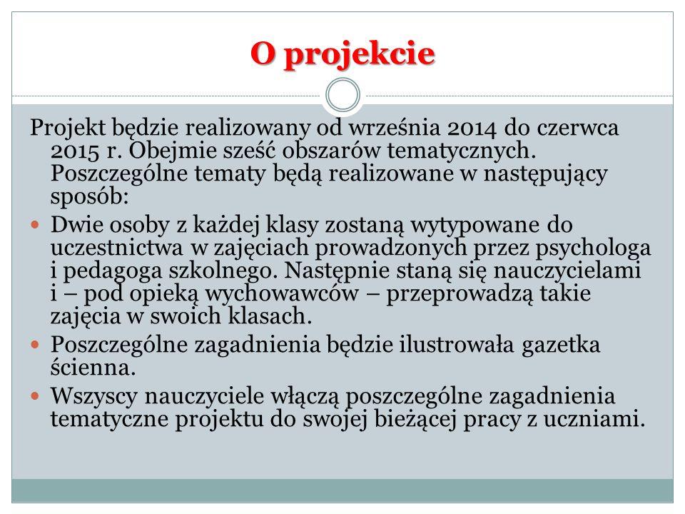O projekcie Projekt będzie realizowany od września 2014 do czerwca 2015 r.