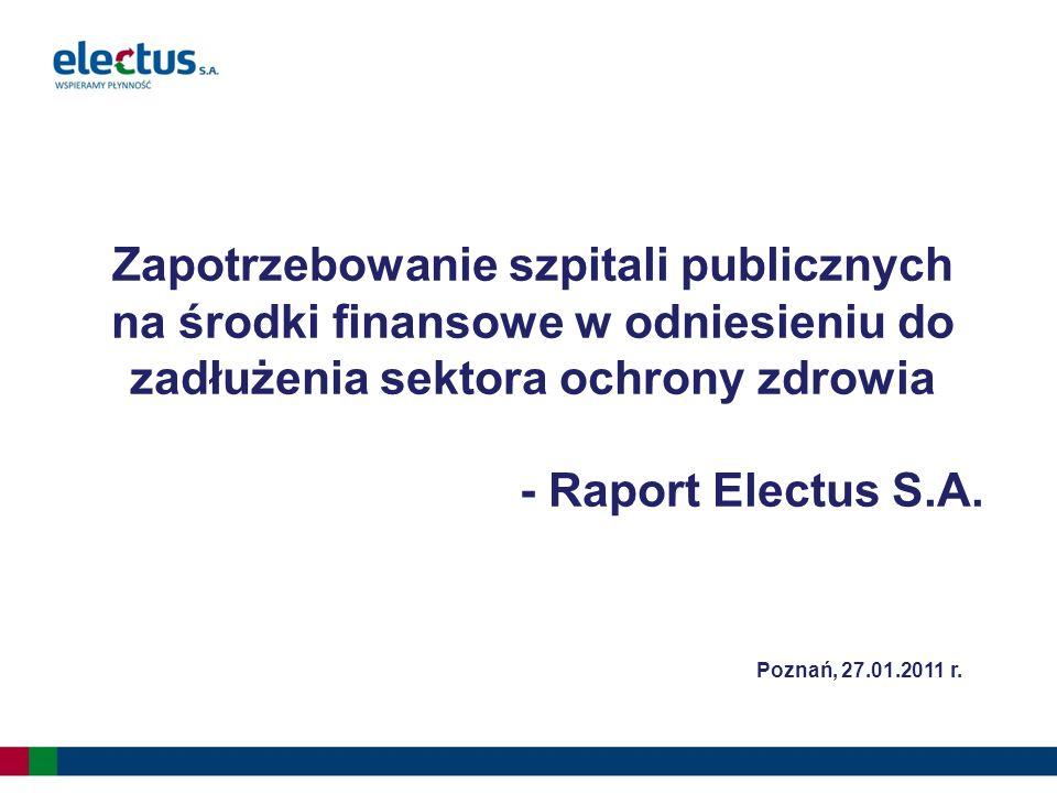 Zapotrzebowanie szpitali publicznych na środki finansowe w odniesieniu do zadłużenia sektora ochrony zdrowia - Raport Electus S.A.
