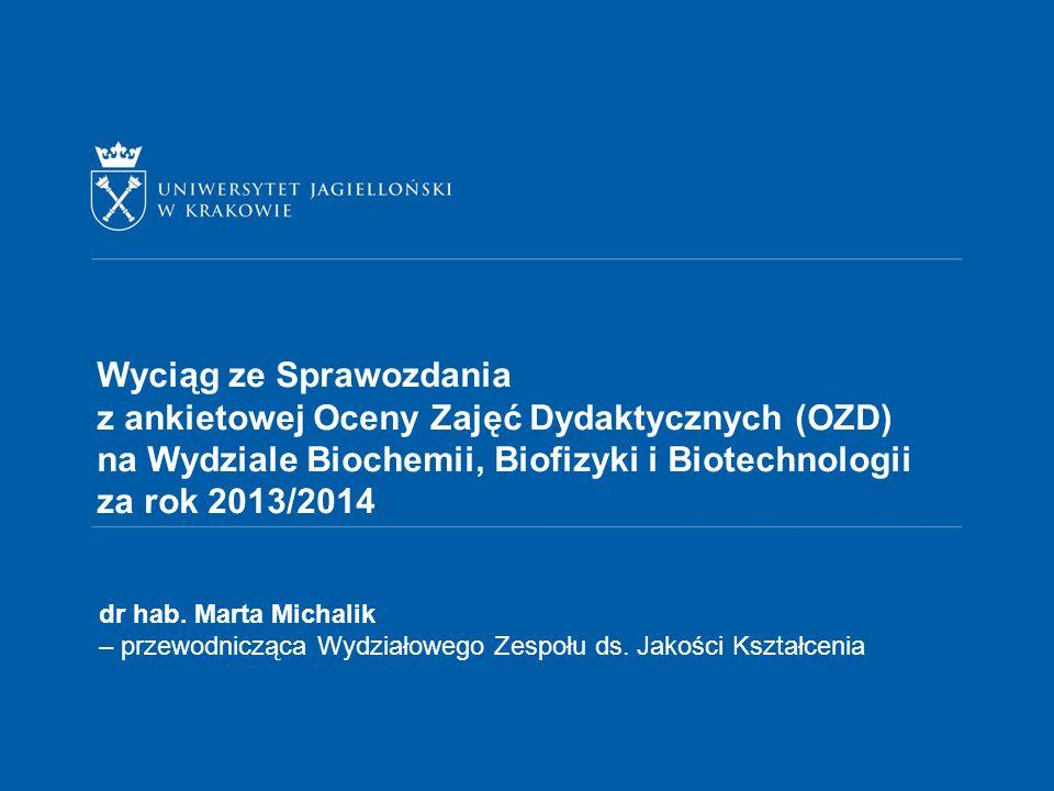 Wyciąg ze Sprawozdania z ankietowej Oceny Zajęć Dydaktycznych (OZD) na Wydziale Biochemii, Biofizyki i Biotechnologii za rok 2013/2014 dr hab.
