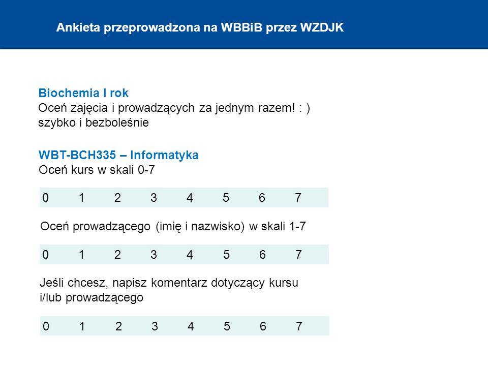 Ankieta przeprowadzona na WBBiB przez WZDJK Biochemia I rok Oceń zajęcia i prowadzących za jednym razem.