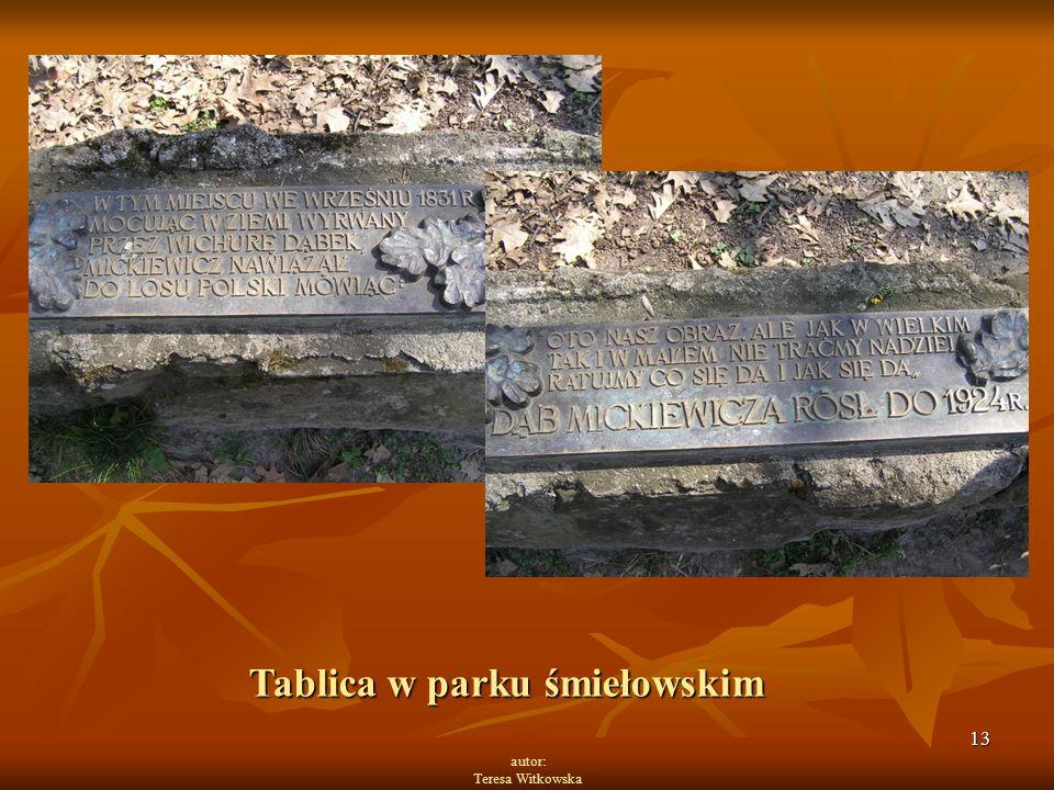 13 autor: Teresa Witkowska Tablica w parku śmiełowskim