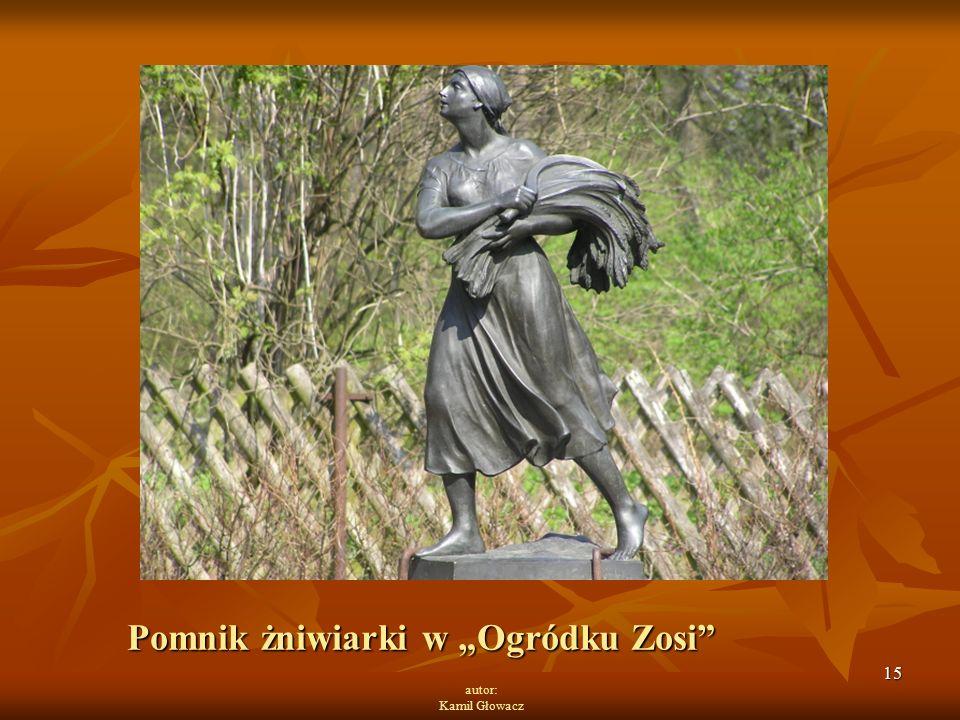 """15 autor: Kamil Głowacz Pomnik żniwiarki w """"Ogródku Zosi"""""""