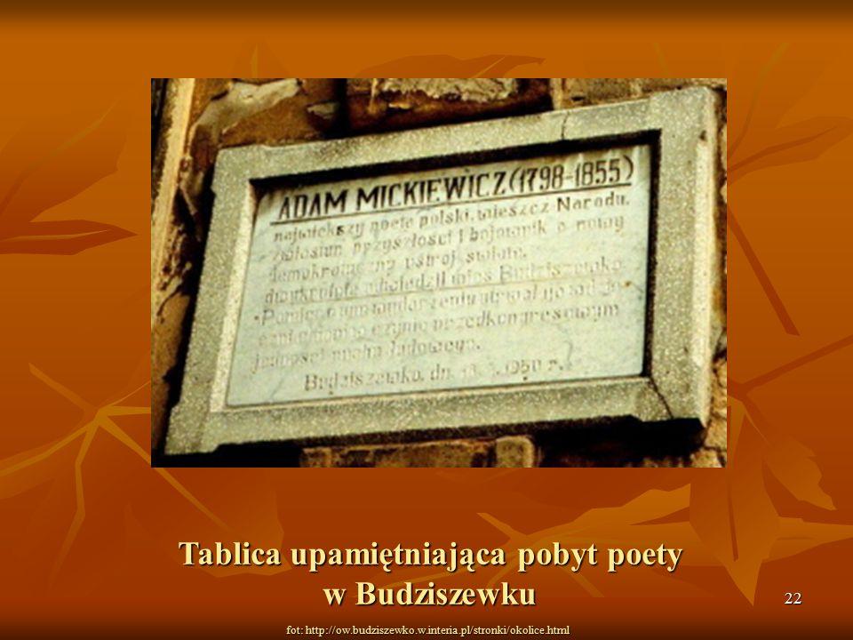 22 fot: http://ow.budziszewko.w.interia.pl/stronki/okolice.html Tablica upamiętniająca pobyt poety w Budziszewku