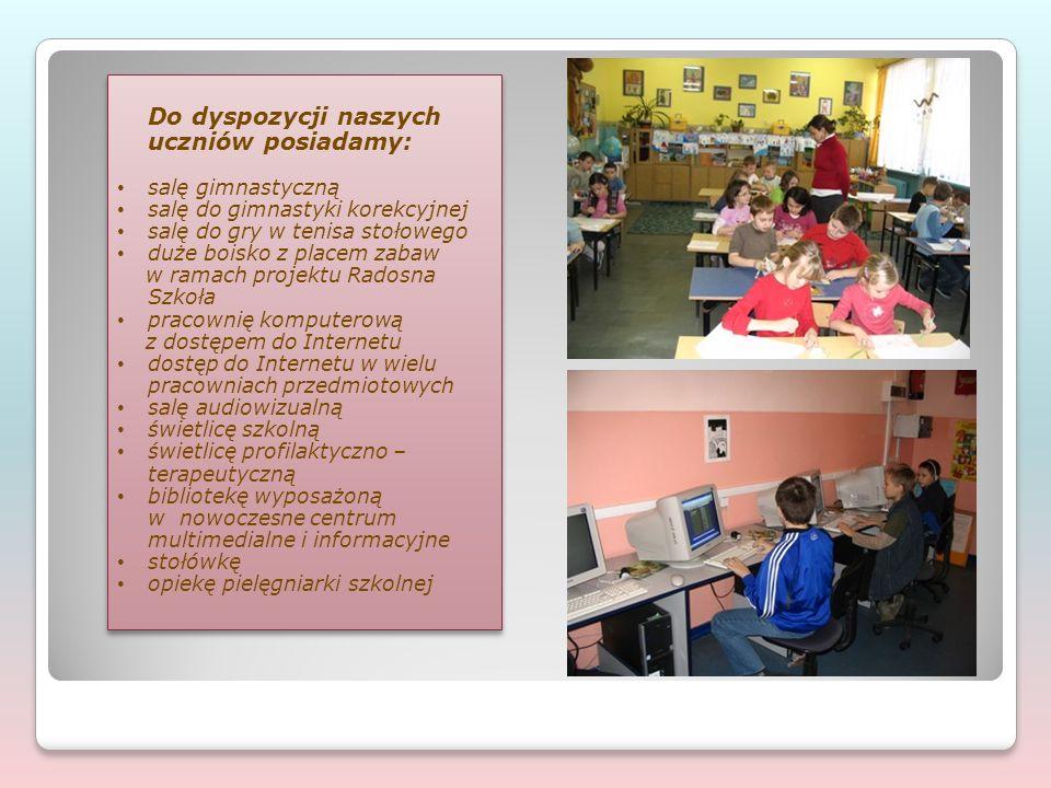 Do dyspozycji naszych uczniów posiadamy: salę gimnastyczną salę do gimnastyki korekcyjnej salę do gry w tenisa stołowego duże boisko z placem zabaw w