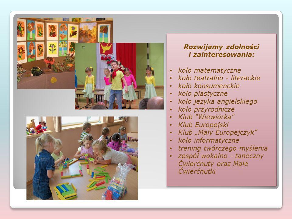 """Realizujemy ciekawe programy wychowawcze i innowacje pedagogiczne: """"Indywidualizacja procesu nauczania i wychowania uczniów klas I – III – program rozwoju dla szkół podstawowych, współfinansowany przez Unię Europejską w ramach Europejskiego Funduszu Społecznego; w ramach projektu odbywają się zajęcia dodatkowe: dydaktyczno – wyrównawcze i specjalistyczne, logopedyczne, terapii pedagogicznej, muzykoterapii, koło plastyczne."""