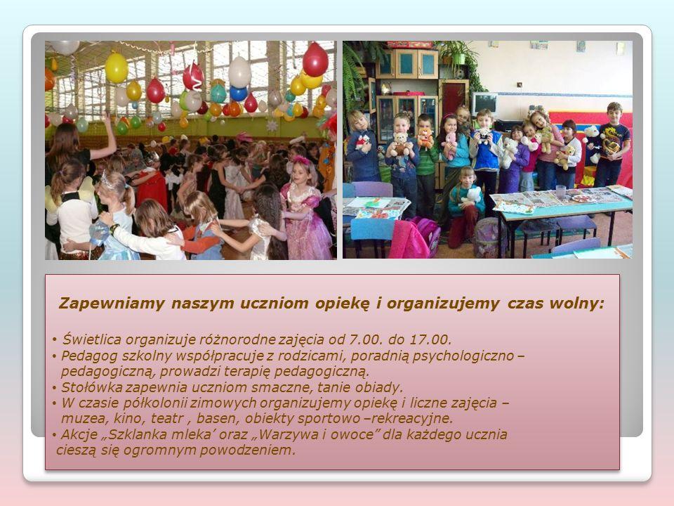 Zapewniamy naszym uczniom opiekę i organizujemy czas wolny: Świetlica organizuje różnorodne zajęcia od 7.00. do 17.00. Pedagog szkolny współpracuje z