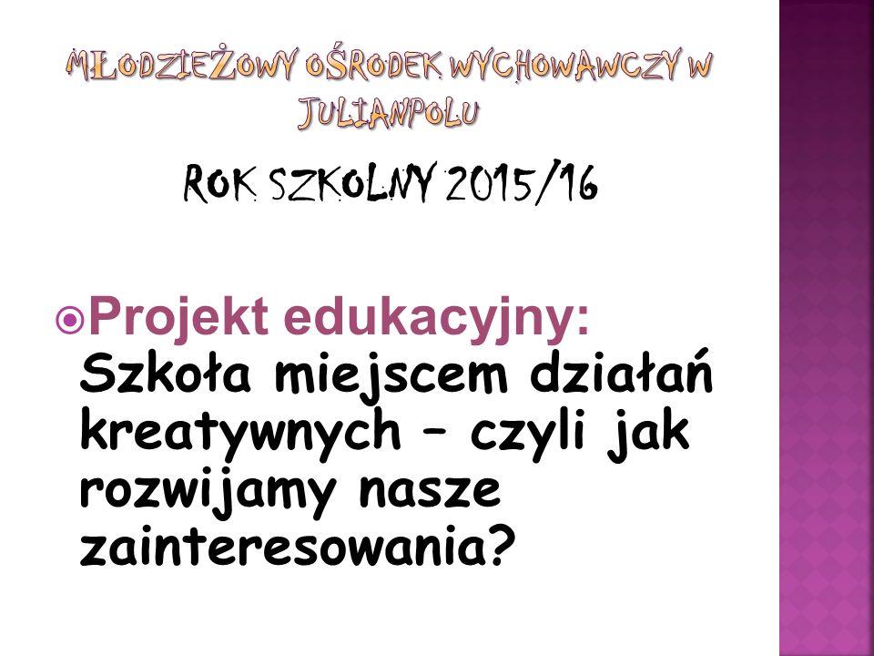 ROK SZKOLNY 2015/16  Projekt edukacyjny: Szkoła miejscem działań kreatywnych – czyli jak rozwijamy nasze zainteresowania?