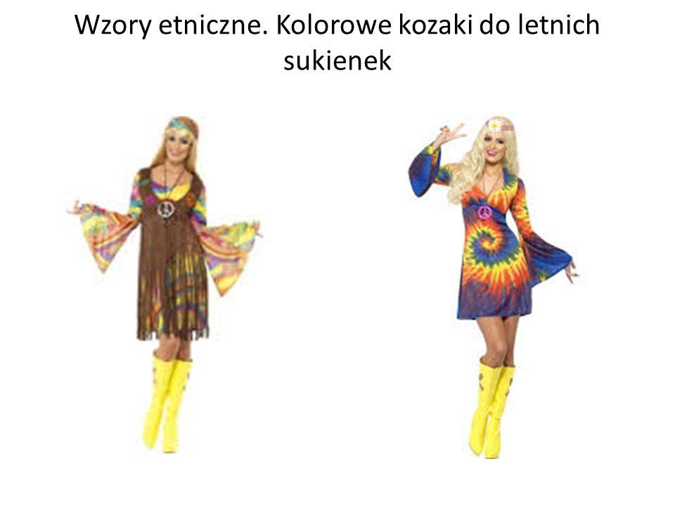 Wzory etniczne. Kolorowe kozaki do letnich sukienek