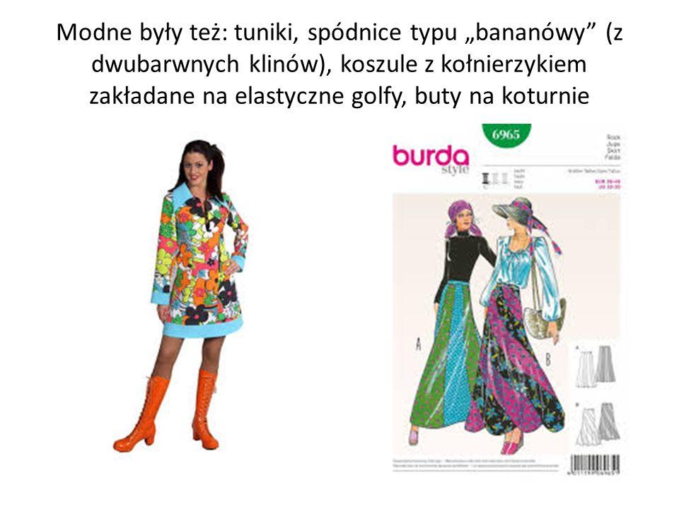 """Modne były też: tuniki, spódnice typu """"bananówy"""" (z dwubarwnych klinów), koszule z kołnierzykiem zakładane na elastyczne golfy, buty na koturnie"""