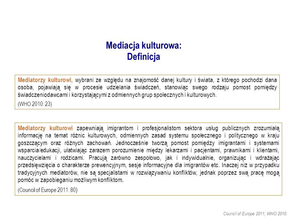 Mediacja kulturowa: Definicja.Council of Europe 2011; WHO 2010.
