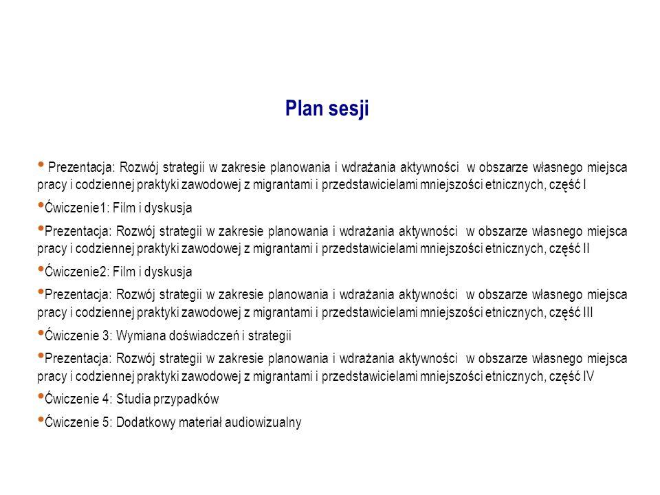 Prezentacja: Rozwój strategii w zakresie planowania i wdrażania aktywności w obszarze własnego miejsca pracy i codziennej praktyki zawodowej z migrantami i przedstawicielami mniejszości etnicznych, część I Ćwiczenie1: Film i dyskusja Prezentacja: Rozwój strategii w zakresie planowania i wdrażania aktywności w obszarze własnego miejsca pracy i codziennej praktyki zawodowej z migrantami i przedstawicielami mniejszości etnicznych, część II Ćwiczenie2: Film i dyskusja Prezentacja: Rozwój strategii w zakresie planowania i wdrażania aktywności w obszarze własnego miejsca pracy i codziennej praktyki zawodowej z migrantami i przedstawicielami mniejszości etnicznych, część III Ćwiczenie 3: Wymiana doświadczeń i strategii Prezentacja: Rozwój strategii w zakresie planowania i wdrażania aktywności w obszarze własnego miejsca pracy i codziennej praktyki zawodowej z migrantami i przedstawicielami mniejszości etnicznych, część IV Ćwiczenie 4: Studia przypadków Ćwiczenie 5: Dodatkowy materiał audiowizualny Plan sesji