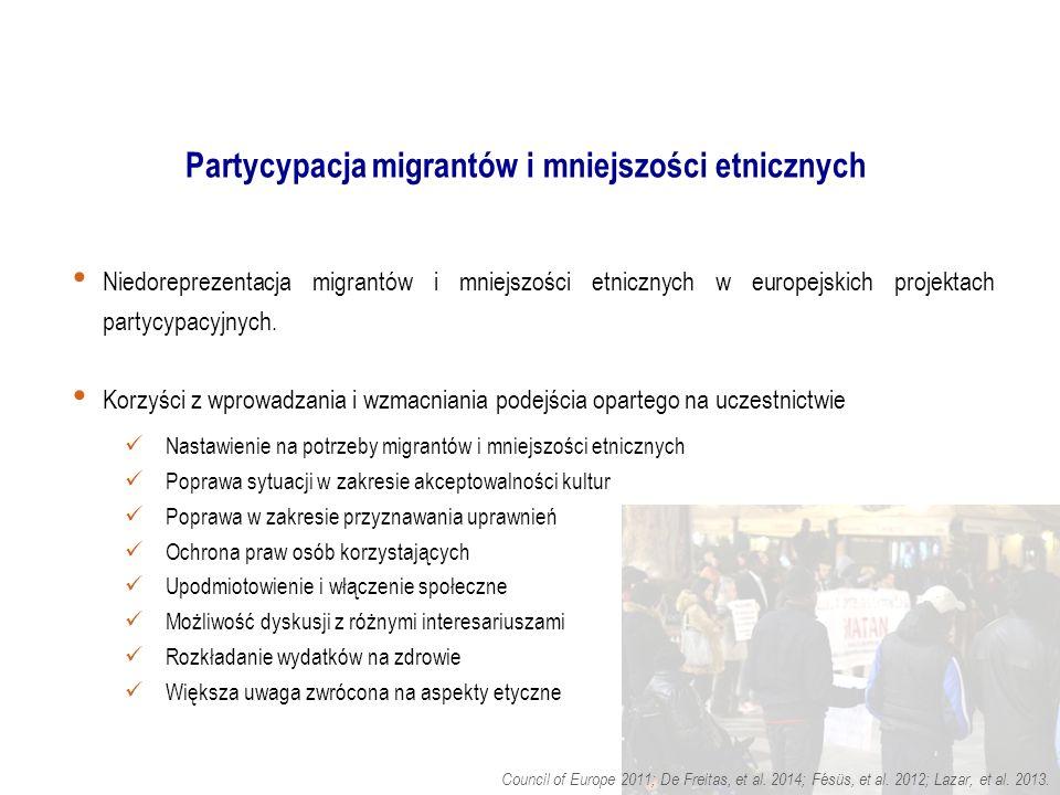 Partycypacja migrantów i mniejszości etnicznych Niedoreprezentacja migrantów i mniejszości etnicznych w europejskich projektach partycypacyjnych.