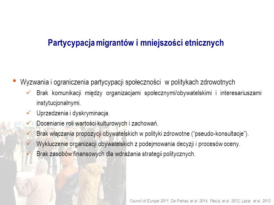 Partycypacja migrantów i mniejszości etnicznych Wyzwania i ograniczenia partycypacji społeczności w politykach zdrowotnych Brak komunikacji między organizacjami społecznymi/obywatelskimi i interesariuszami instytucjonalnymi.