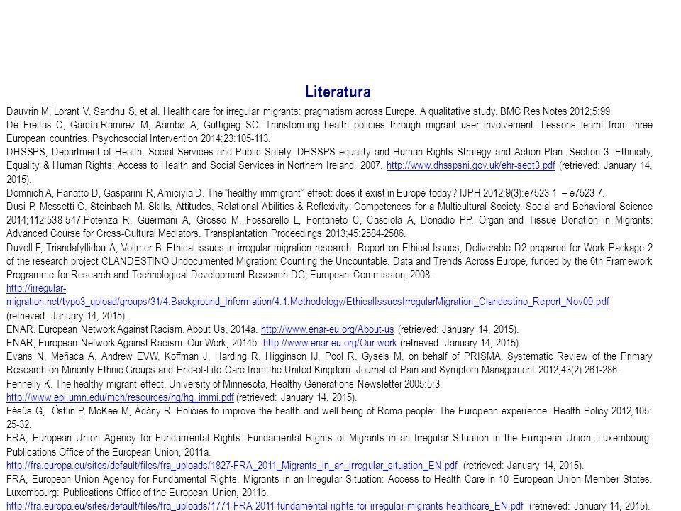 Literatura Dauvrin M, Lorant V, Sandhu S, et al.