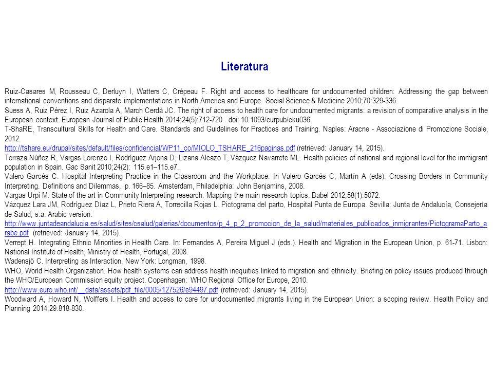 Literatura Ruiz-Casares M, Rousseau C, Derluyn I, Watters C, Crépeau F.