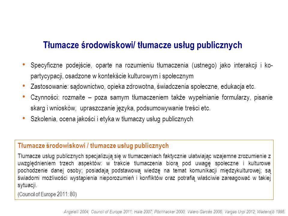 Tłumacze środowiskowi/ tłumacze usług publicznych.