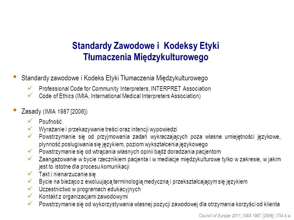 Standardy Zawodowe i Kodeksy Etyki Tłumaczenia Międzykulturowego Council of Europe 2011; IMIA 1987 [2006]; ITIA s.a.
