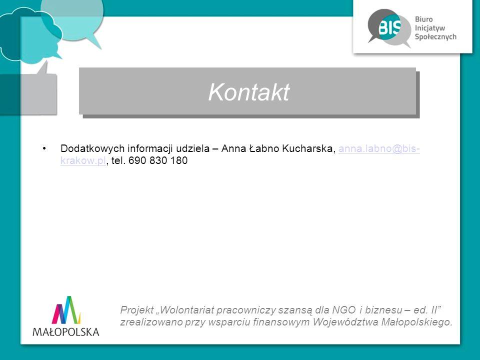 """Dodatkowych informacji udziela – Anna Łabno Kucharska, anna.labno@bis- krakow.pl, tel. 690 830 180anna.labno@bis- krakow.pl Kontakt Projekt """"Wolontari"""