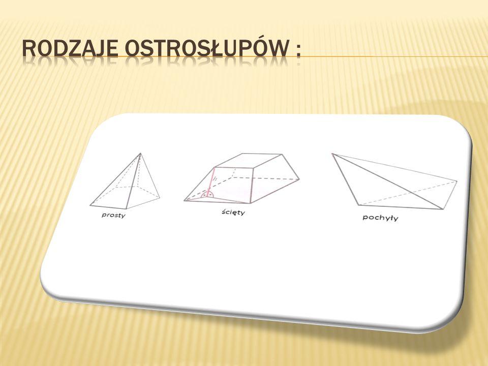1.Podstawą ostrosłupa jest dowolny wielokąt, a ściany boczne tworzą trójkąty o wspólnym wierzchołku.