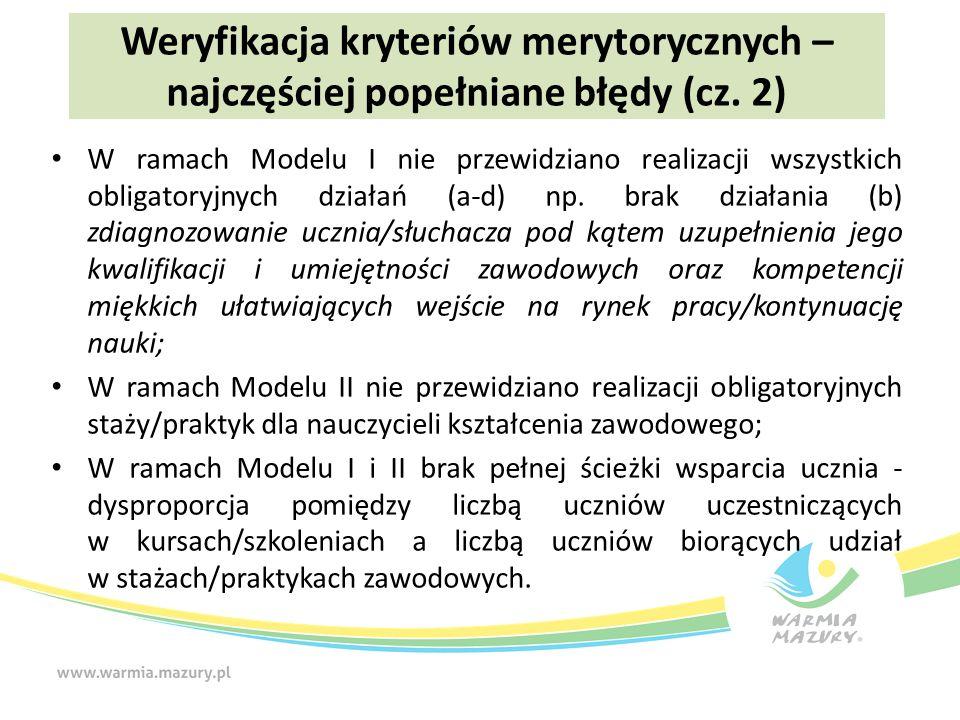 W ramach Modelu I nie przewidziano realizacji wszystkich obligatoryjnych działań (a-d) np.