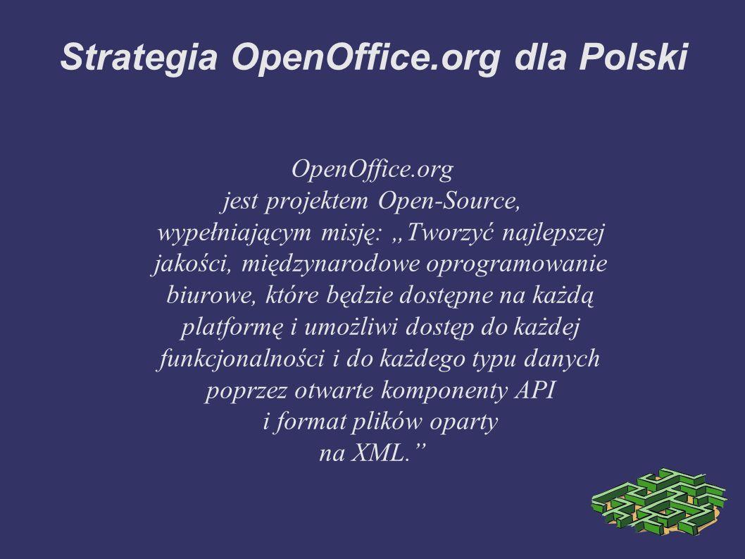 Główne zadania ➲ Upowszechnianie oprogramowania OpenOffice.org wśród polskich użytkowników komputerów PC ➲ Nauczanie obsługi oprogramowania OpenOffice.org na kursach oraz w szkołach ➲ Przystosowywanie przedsiębiorstw do używania pakietu OpenOffice.org