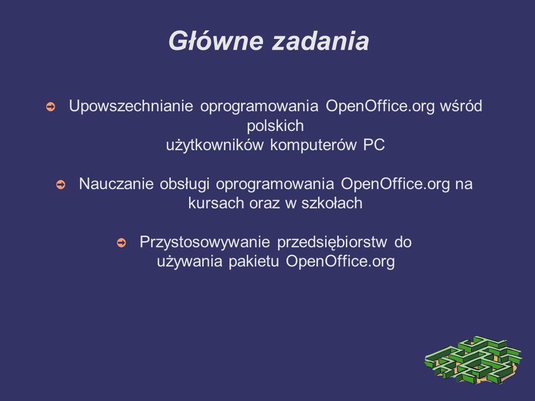 Główne zadania ➲ Upowszechnianie oprogramowania OpenOffice.org wśród polskich użytkowników komputerów PC ➲ Nauczanie obsługi oprogramowania OpenOffice