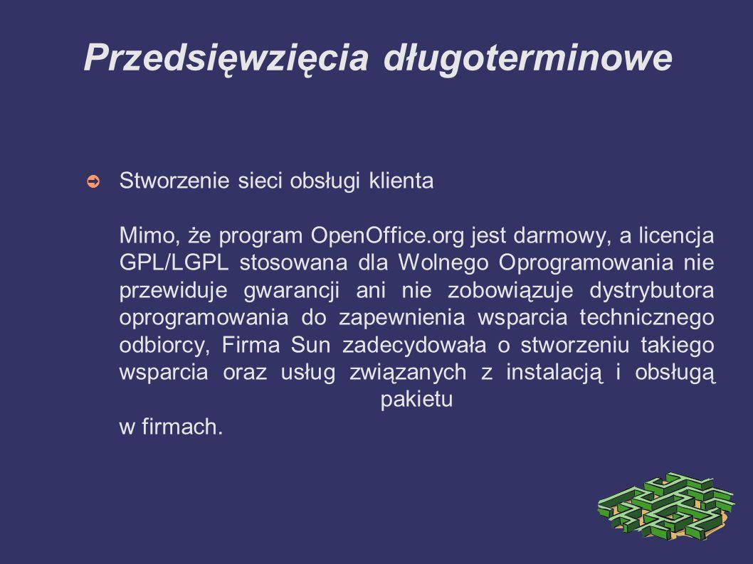 Obecna sytuacja ➲ Powstał projekt Lang/PL, którego głównym celem jest tworzenie dokumentacji oraz zapewnienie wsparcia technicznego i łączenie grup zainteresowanych pakietem oprogramowania OpenOffice.org ➲ Firma Ux.pl ściśle współpracuje z Sun nad tworzeniem polskiej, zawsze aktualnej, wersji oprogramowania (projekt l10n)