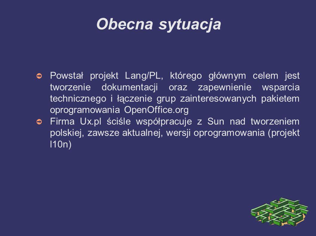 Obecna sytuacja ➲ Powstał projekt Lang/PL, którego głównym celem jest tworzenie dokumentacji oraz zapewnienie wsparcia technicznego i łączenie grup za