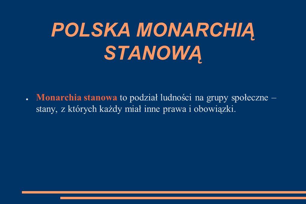 POLSKA MONARCHIĄ STANOWĄ ● Monarchia stanowa to podział ludności na grupy społeczne – stany, z których każdy miał inne prawa i obowiązki.