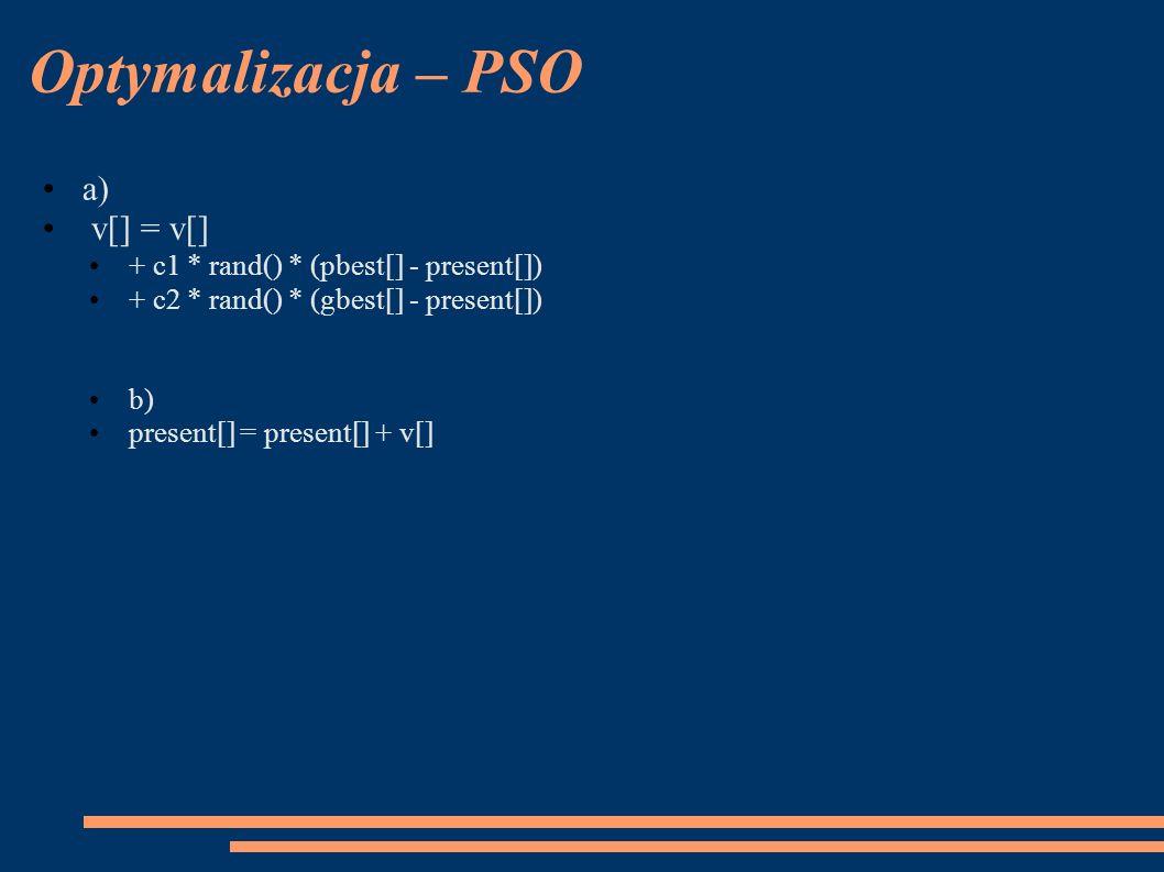 Optymalizacja – PSO a) v[] = v[] + c1 * rand() * (pbest[] - present[]) + c2 * rand() * (gbest[] - present[]) b) present[] = present[] + v[]