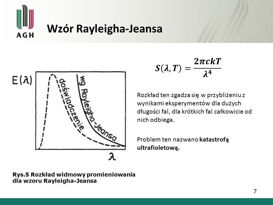 Wzór Rayleigha-Jeansa Rozkład ten zgadza się w przybliżeniu z wynikami eksperymentów dla dużych długości fal, dla krótkich fal całkowicie od nich odbiega.