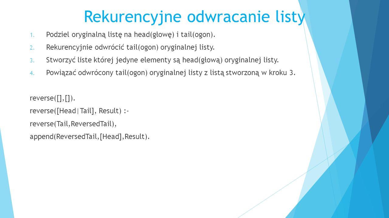 Rekurencyjne odwracanie listy 1. Podziel oryginalną listę na head(głowę) i tail(ogon).