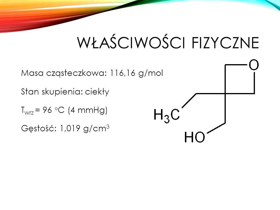 WŁAŚCIWOŚCI FIZYCZNE Masa cząsteczkowa: 116,16 g/mol Stan skupienia: ciekły T wrz = 96 °C (4 mmHg) Gęstość: 1,019 g/cm 3