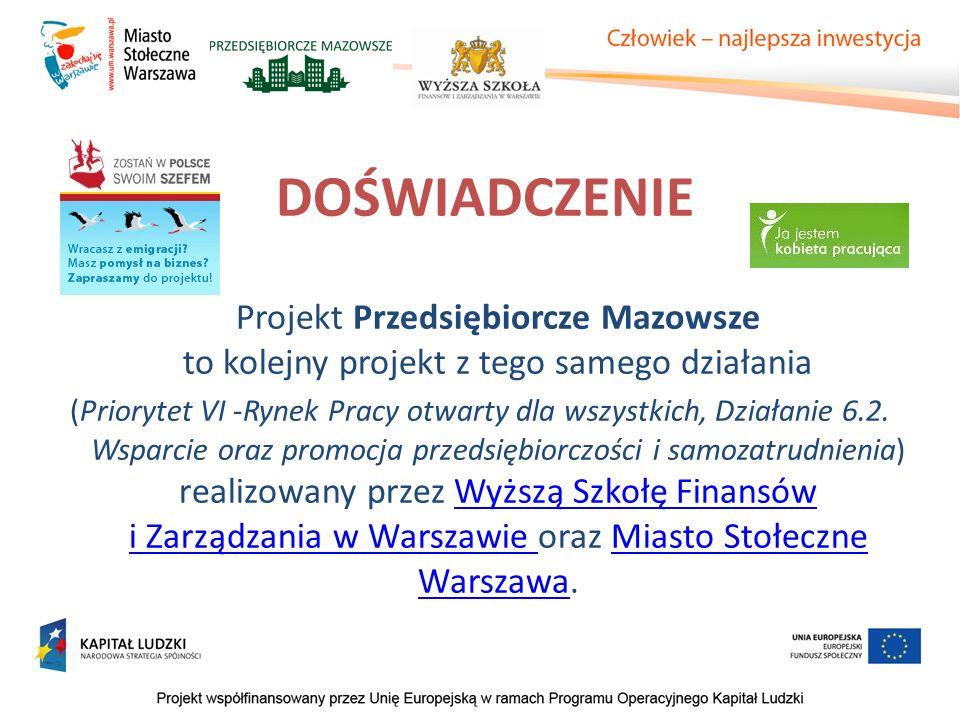 DOŚWIADCZENIE Projekt Przedsiębiorcze Mazowsze to kolejny projekt z tego samego działania (Priorytet VI -Rynek Pracy otwarty dla wszystkich, Działanie 6.2.